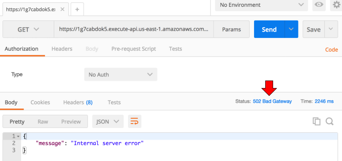 Showing the service-a endpoint erred with 502 response to the API Gateway invocation.