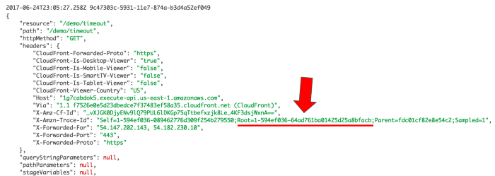 Trace IDs are passed along the HTTP headers in the GET request to the timeout function invocation.
