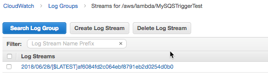 SQS to trigger Lambda in Cloudwatch logs console.