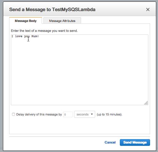 Sending message to test SQS Lambda