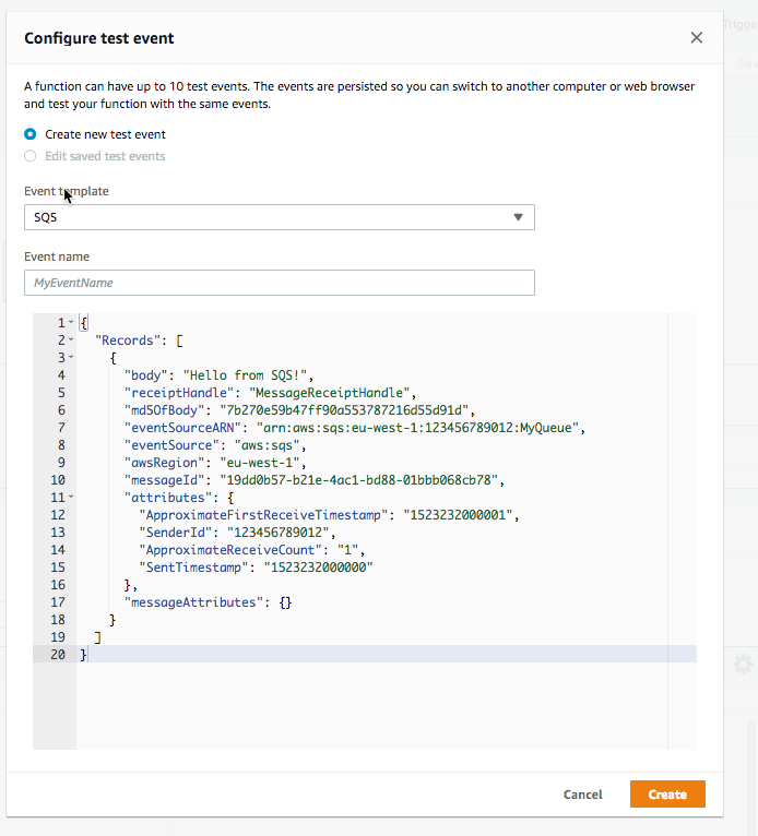 While search SQS there will be a event test template provided.