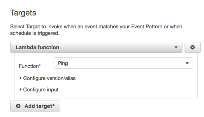 Select Target to invoke when schedule is triggered.