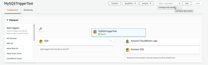 Select configure test event in configuration menu.