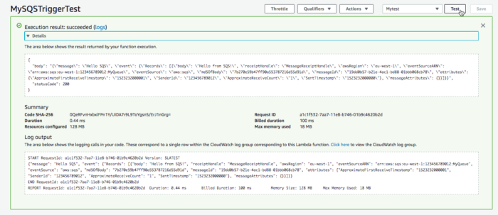 Testing the whole pipeline by putting data directly into the SQS queue.
