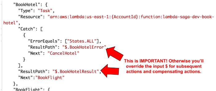 The output and error from each action and compensating action are stored at a specific path.