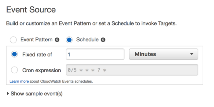 Create rule in AWS CloudWatch to run every 1 minute.