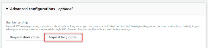Request Long codes in Amazon Pinpoint