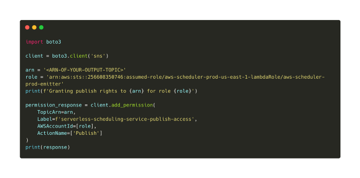 The AWS role of the public serverless scheduler