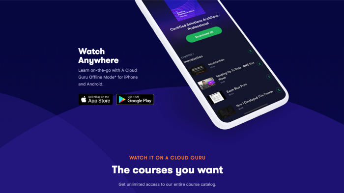 A Cloud Guru training content on your mobile device