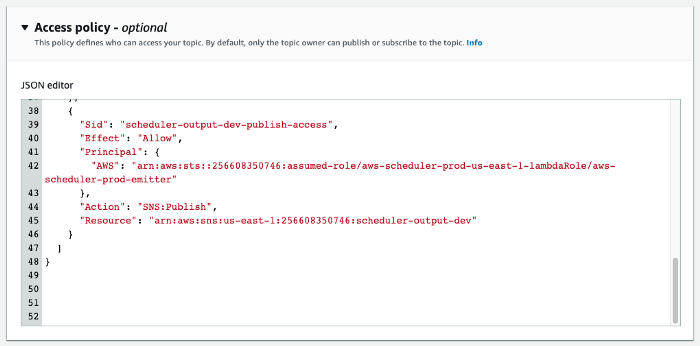 Assigning additional access policy to a SNS topic