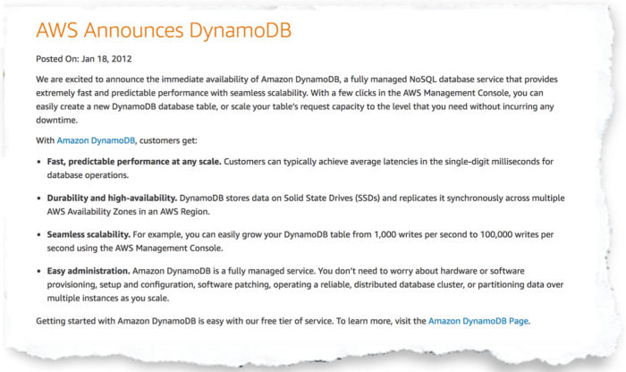 snippet of AWS announcing DynamoDB