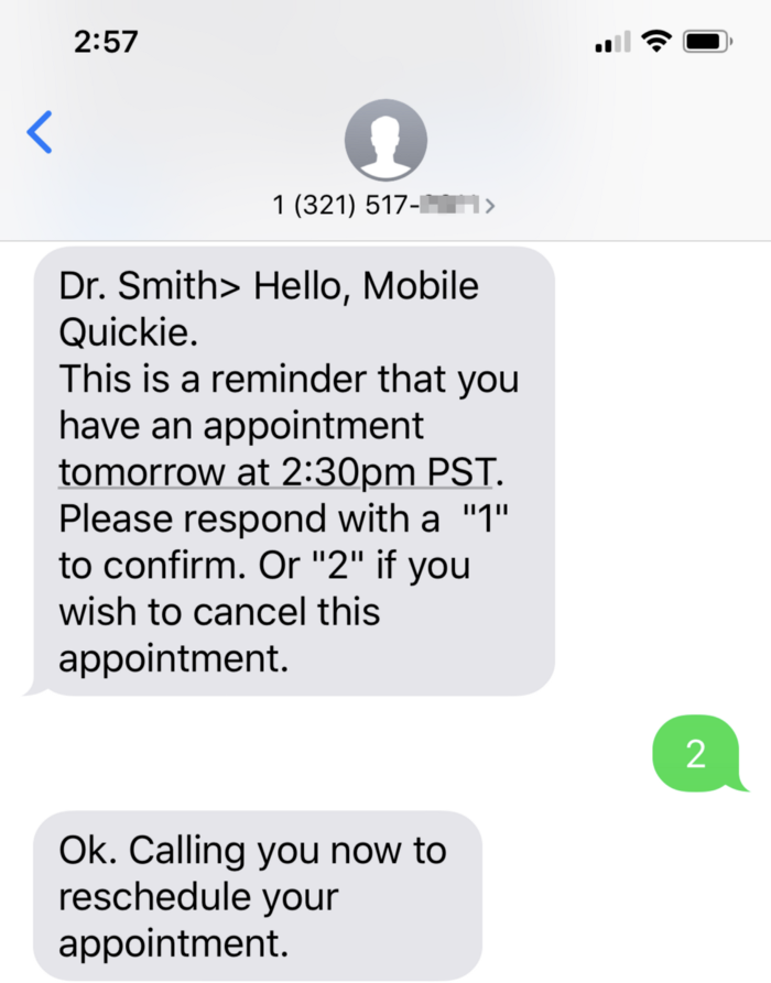 Two-way text message
